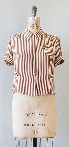 vintage 1940s blouse | MARLYEBONE STRIPED blouse c.1940s