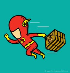 Flash as a Pizza Delivery Man. If Superheroes had Part-time Jobs Graphic Design Project by Hon Chow #graphic #superheros