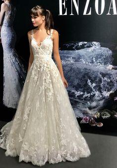 Aline Wedding Dresses Blue by Enzoani Kaylin A-Line Wedding Dress - Wedding Dress Suit, Blue Wedding Dresses, Wedding Attire, Bridal Dresses, Wedding Gowns, Wedding Flowers, Pretty Dresses, Beautiful Dresses, Wedding Inspiration