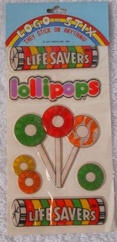 Vintage 1981 Life Savers Candy Lollipops Product Puffy Stickers - NEW SEALED 178 #GordyInternational #PuffyStickers