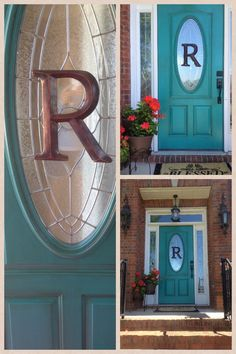 Pinned b/c my door has an oval window too - Turquoise front door