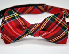 Royal Stewart Tartan Bow Tie Holiday Red Plaid by dolldressedup