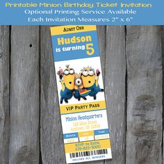 PRINTABLE Minion Themed  Birthday by IrresistibleInvites1 on Etsy Ticket Invitation, Birthday Invitations, Minion Birthday, Movie Tickets, Day And Time, Printing Services, Minions, Rsvp, Printables