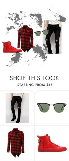 """Black-Red Combination"" by jenkey-cool-fashion ❤ liked on Polyvore featuring Sik Silk, Ray-Ban, LE3NO, BUSCEMI, men's fashion, menswear and men"