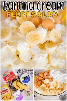 Banana Cream Desserts, Banana Cream Cheesecake, Fluff Desserts, Sweet Desserts, Jello Recipes, Bakery Recipes, Pudding Recipes, Cooking Recipes, Fruit Fluff Salad Recipe