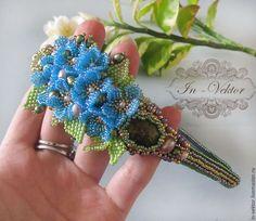 Купить Незабудки - бирюзовый, незабудки, цветы ручной работы, комплект украшений, комплек обруч и серьги