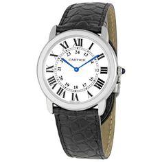 Cartier Ronde Solo Steel Black Leather Mens Watch W6700255