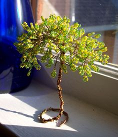 Little tree of seed beads - nice simple design for Grandma's Fairy Garden