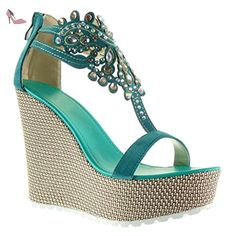 Angkorly - Chaussure Mode Sandale salomés plateforme femme bijoux brodé Talon compensé plateforme 13 CM - Bleu - 168-1 T 37 - Chaussures angkorly (*Partner-Link)