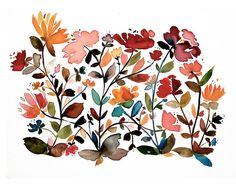 the wildflowers - giclee, artprint, watercolor, wildflowers, spring, summer, boho, modern, minimalist, abstract, flowers, garden, botanicals