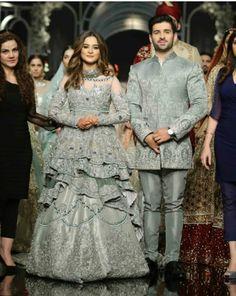 Hum Showcase Modeling Aimen and Muneeb New Couple Pakistani Fashion Casual, Pakistani Wedding Outfits, Pakistani Wedding Dresses, Bridal Outfits, Indian Dresses, Indian Outfits, Wedding Attire, Couple Wedding Dress, Mehndi Dress