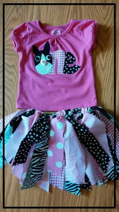 For Kylie's 1st Birthday   Boston Terrier with scrap tutu  By: mom & dad