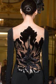 Yanina Spring Haute Couture Details/Black Evening Gown/Elegant/Sleek Low Bun/Floral Detail/Back Detail Couture Details, Fashion Details, Look Fashion, Fashion Design, Classy Fashion, High Fashion, Fashion Vestidos, Fashion Dresses, Beautiful Gowns
