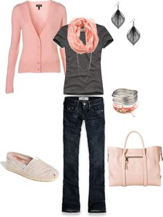 Casual Pale pink & grey
