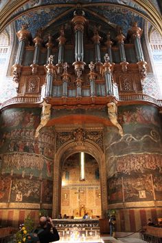 St Cecelia, Albi, France  The elaborate interior stands in stark contrast to the cathedral's military exterior. Below the organ, a fresco of the Last Judgement, attributed to unknown Flemish painters, originally covered nearly 200 m² (the central area was later removed):   - SkyscraperCity