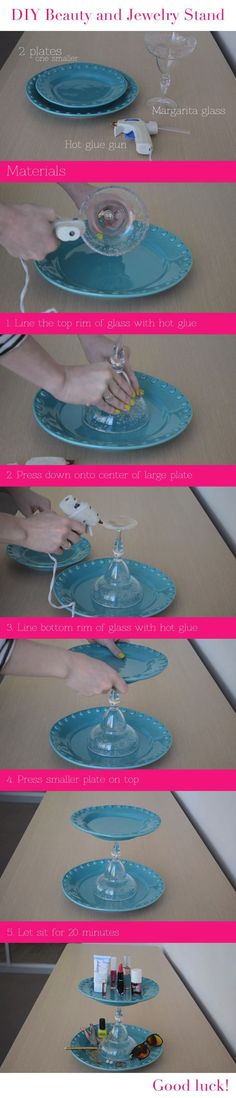 How to create your own makeup or jewelry stand using plates and a margarita glass! #diyjewelry