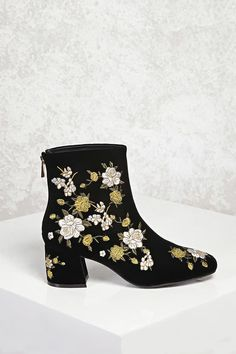 Product Name:Velvet Floral Ankle Boots, Category:Shoes, Price:37.9
