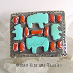 C Chamas artist signed Turquoise buffalo bison and red coral on sterling silver large unisex belt buckle