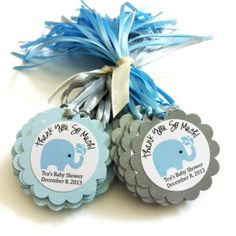 Personalized Elephant Favor Tags for Baby Boy Shower Party in Blue | adorebynat - Paper/Books on ArtFire