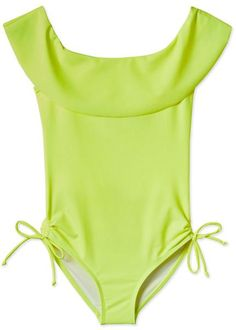 Elegant Jackie O neckline on this modern stand out Neon Yellow bathing suit for girls made from high quality fabric. Adjustable straps at the hip for best fit  Yellow Bathing Suit, Bathing Suits One Piece, Girls Bathing Suits, Neon Yellow, Swimsuits, Swimwear, Streetwear Fashion, Beachwear, Girl Fashion