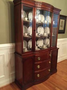 French Country Corner Cabinet with Curved Glass Front | Country ...