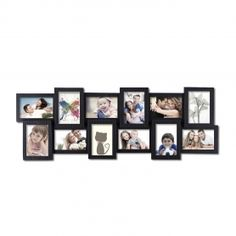 Adeco Decorative Black Polyresin Wall Hanging Collage Picture Photo Frame, 12 Openings, 4x6""