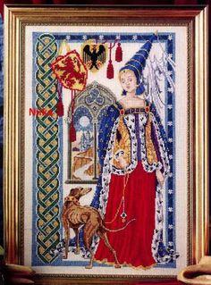 0 point de croix femme du moyen-age avec levrier - cross stitch medieval lady and greyhound 1