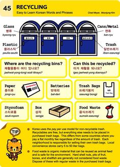 45. Recycling. An Illustrated Guide to Korean by Chad Meyer and Moon-Jung Kim.