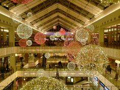 (Christmas decorated Mall) by KeiSuperstar on DeviantArt Holiday Lights, Christmas Lights, Holiday Decor, Shopping Center, Gold Christmas, Christmas Time, School Christmas Party, Pottery Shop, Mall