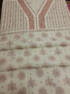 Lucknow Chikan Online Suit Length 3 piece Cream Cotton