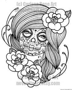 Digital Download Print Your Own Coloring Book Outline Page - Day of the Dead Tattoo Flash by Carissa Rose