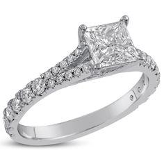 Princess Cut Split Shank U Shape Micro Pave Diamond Engagement Ring P2 #diamondengagementring #engagementring #princesscutdiamond