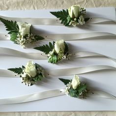 shabby chic simple white and green wrist corsages