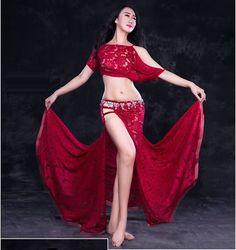 Blusa De Encaje + Encaje Falda de hendidura 2 un. Conjunto Disfraces de danza del vientre rendimiento Dancewear | Ropa, calzado y accesorios, Trajes de baile, Trajes de baile para adultos | eBay!