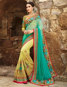 Half and half yellow #net #saree to be the center of attraction in #wedding  Product code - G3-WSA10067