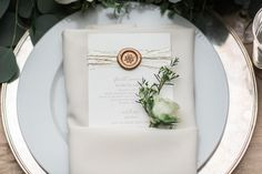 Menu with Golden Details    Photography: Lucas Rossi and Michelle Kyle   Read More:  http://www.insideweddings.com/weddings/inspirational-outdoor-garden-wedding-shoot-with-modern-elements/687/