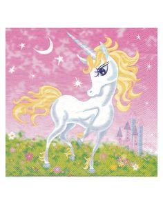 20 Servilletas de papel unicornio girly 30 cm: Este lote de 20 servilletas mide 16x16 cm.Son de papel con un unicornio en el centro.Estas servilletas completarán la decoración de unicornio de fiestas.