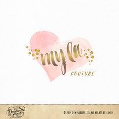 A modern heart logo in watercolor strokes and a bold brush strokes and polka dots in gold.    This logo is perfect for any small business,