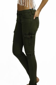 Flying Monkey Olive Cargo Denim Pants - BOTTOMS - These olive cargo denim jeans from Flying Monkey are as comfortable as it gets. Pair with a cute pair of sandals for a chill look, or a pair of combat boots for a more edgy look. #womensgreencargopants