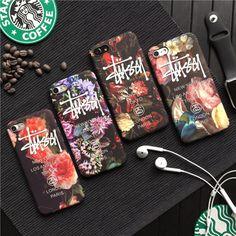 ブランド ステューシー アイフォン7s ケース iPhone8 カバー stussy 夜光 薄型 ハードケース iphone7 アイフォン6プラス マット素材 PC製 花柄
