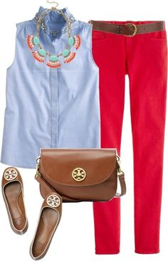 A Reddish Coral Pant paired w/ a Neutral Light Blue sleeveless button shirt & Coral & Turquoise necklace w/ brown Leather Neutral accessories. Make 4 an awesome Coral outfit