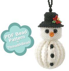 Bead Pattern: Snowman Christmas Beaded Ornament by ThreadABead