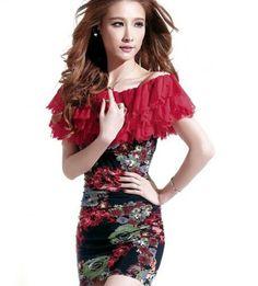 Off Shoulder Tops Red Printed Floral Tops for Women | Rudelyn's Sari Sari Store