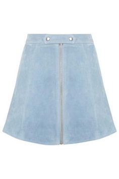 Tab Button Suede Skirt
