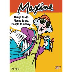 Chuckle along with this planner featuring roomy appointment grids, checklist sections, note pages, and sassy cartoon character Maxine. Encased protective plastic doubles for storage, and environmental