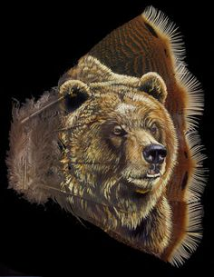 turkey feather painting-grizzly - Feather Creations by wildlife artist Dan Andrews and also canvas paintings