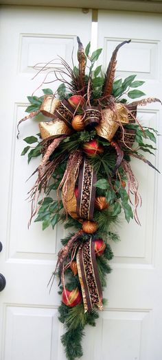 Christmas Swag in cooper and red by LisasLaurels on Etsy