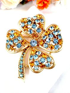 Vintage Lisner Gold Tone Sky Blue Amber Rhinestone 4 Leaf Clover Flower Brooch | eBay