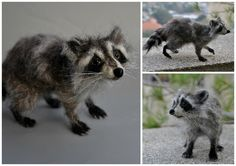 Needle Felted   Animals. Raccoon. Needle Felted Raccoon. Felt Raccoon Sculpture. Made for custom orders by darialvovsky on Etsy https://www.etsy.com/ca/listing/53981435/needle-felted-animals-raccoon-needle