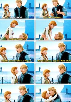 Day 14 Favorite Kiss: none other than Anna and Kristoff. It's so sweet 30 Day Disney Challenge Anna Disney, Disney Love, Disney Magic, Disney Art, Disney Pixar, Walt Disney, Disney Kiss, Disney Frozen, Frozen Anna And Kristoff